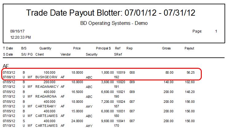 BDOS Payout Blotter